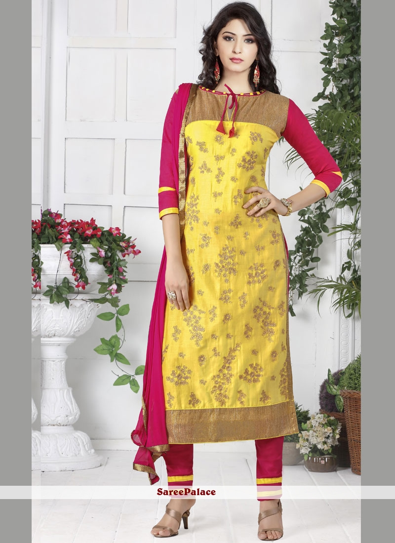 Yellow Embroidered Party Designer Straight Suit