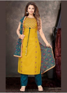 Yellow Embroidered Raw Silk Trendy Salwar Suit