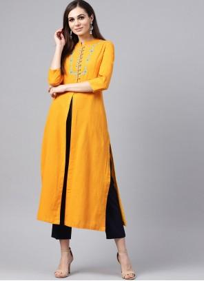 Yellow Embroidered Rayon Casual Kurti