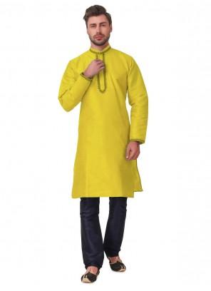 Yellow Embroidered Sangeet Kurta Pyjama