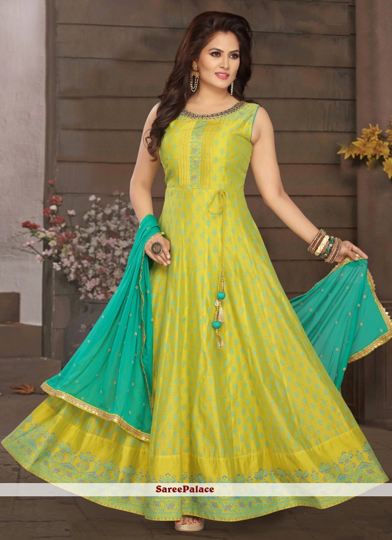 Yellow Embroidered Sangeet Readymade Suit