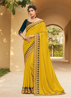 Yellow Embroidered Silk Classic Saree