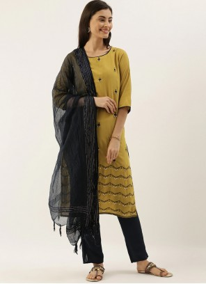 Yellow Embroidered Silk Readymade Salwar Kameez