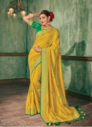 Yellow Embroidered Silk Saree