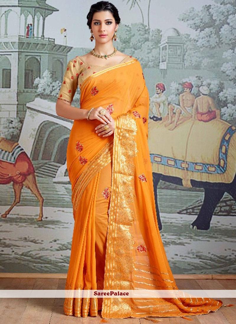 Yellow Embroidered Work Faux Georgette Designer Saree
