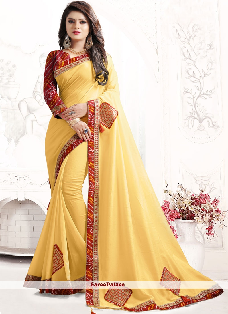 Yellow Embroidered Work Traditional  Saree