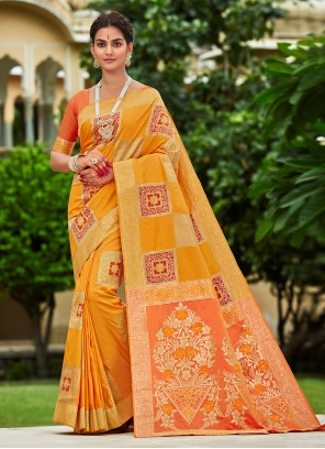 Yellow Engagement Designer Traditional Saree