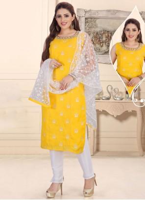 Yellow Fancy Chanderi Readymade Suit