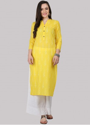 Yellow Fancy Cotton Party Wear Kurti