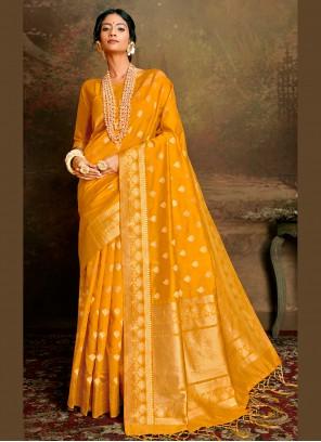 Yellow Fancy Fabric Designer Traditional Saree