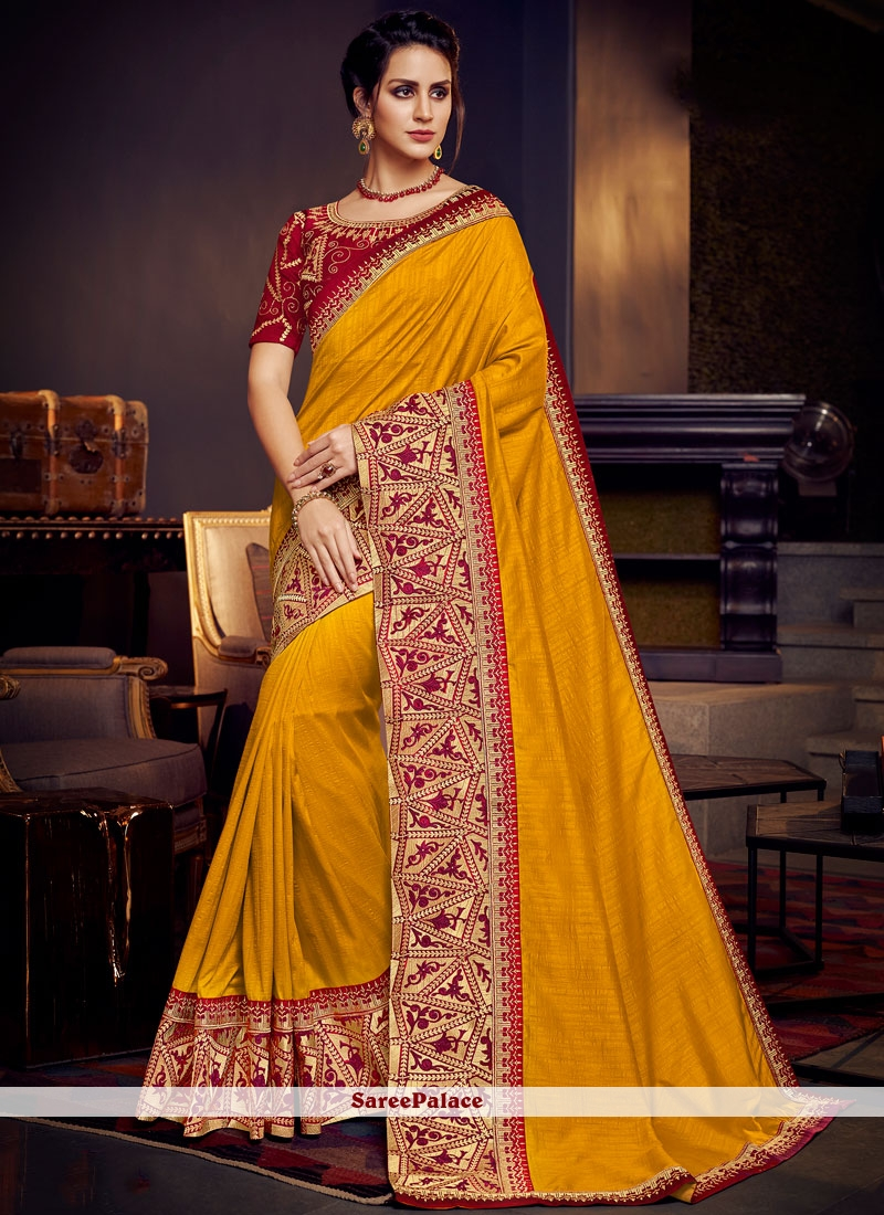 Yellow Fancy Fabric Party Designer Traditional Saree