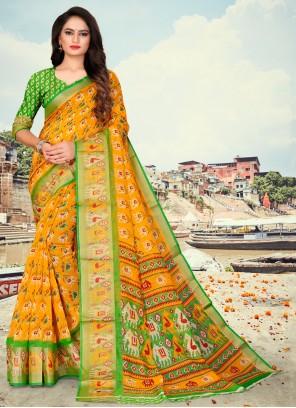 Yellow Fancy Fabric Printed Saree