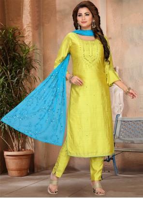 Yellow Fancy Faux Chiffon Designer Suit