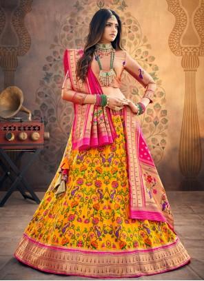 Yellow Silk Engagement Fancy Lehenga Choli