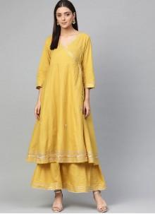Yellow Fancy Rayon Party Wear Kurti