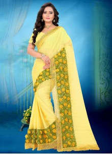 Yellow Faux Chiffon Abstract Print Casual Saree