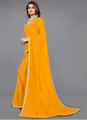 Yellow Faux Chiffon Trendy Saree