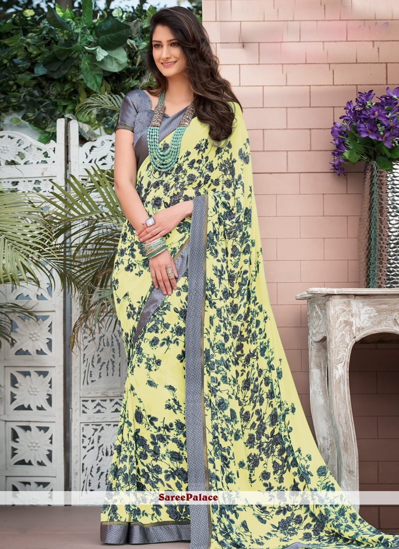 Yellow Faux Georgette Casual Printed Saree