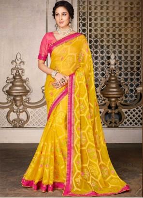 Yellow Faux Georgette Ceremonial Classic Designer Saree