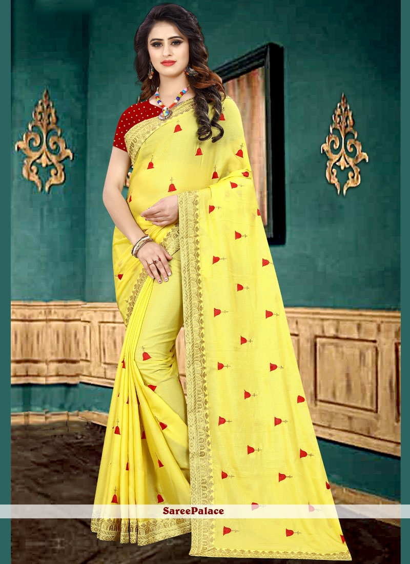 Yellow Faux Georgette Classic Saree