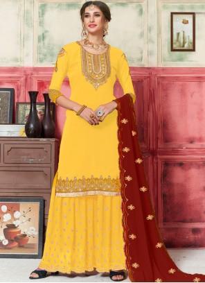 Yellow Faux Georgette Designer Palazzo Salwar Kameez