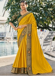 Yellow Faux Georgette Reception Classic Saree