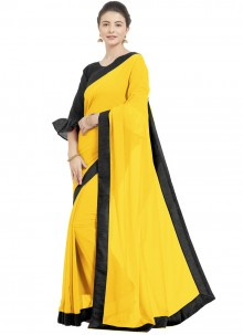 Yellow Faux Georgette Trendy Saree