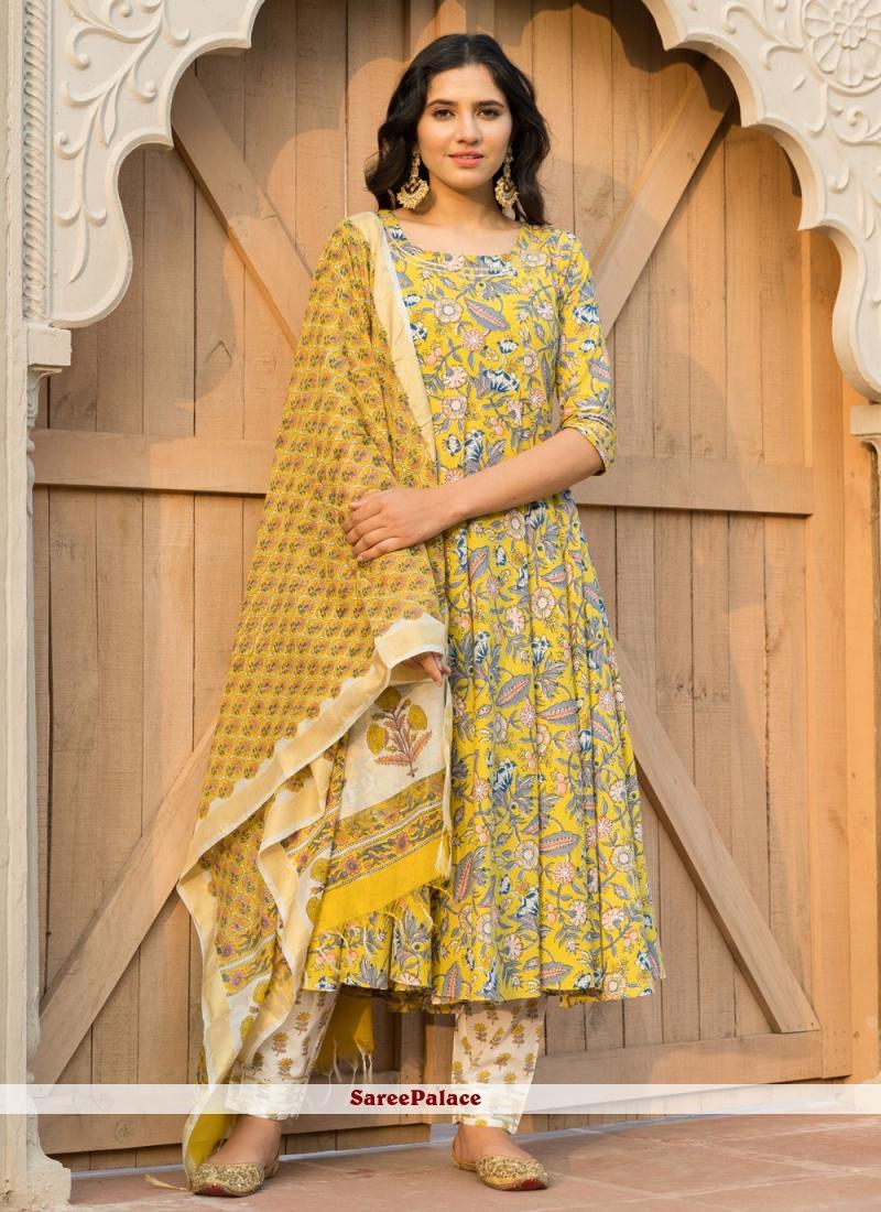 Yellow Festival Anarkali Salwar Kameez