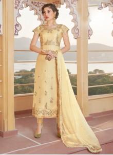 Yellow Festival Chanderi Designer Straight Suit