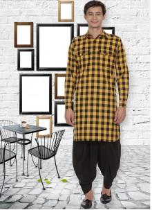Yellow Festival Cotton Kurta Pyjama