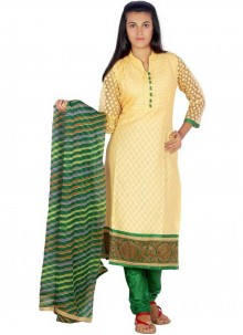 Yellow Festival Cotton Readymade Suit