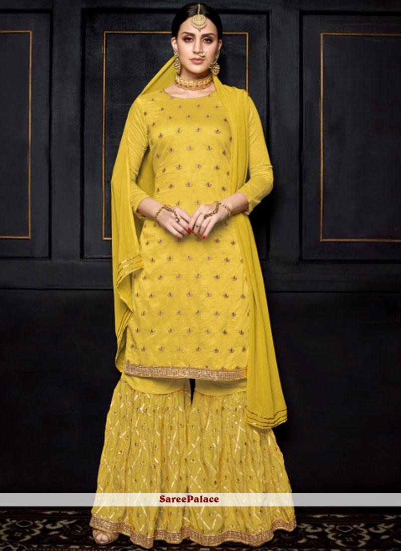 dd7397bc44 Buy Yellow Festival Designer Palazzo Salwar Suit Online