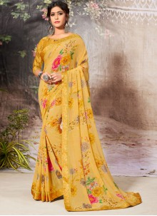 Yellow Festival Faux Georgette Casual Saree