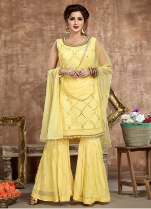 Yellow Festival Faux Georgette Readymade Suit