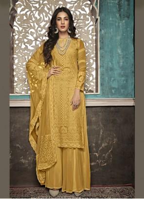 Yellow Festival Faux Georgette Salwar Suit