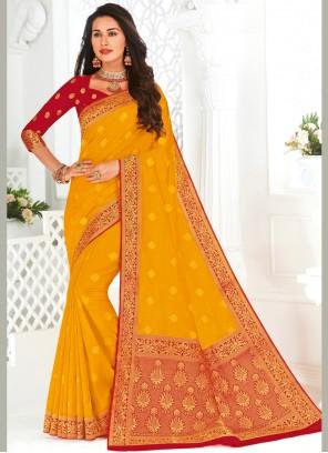 Yellow Festival Silk Contemporary Saree