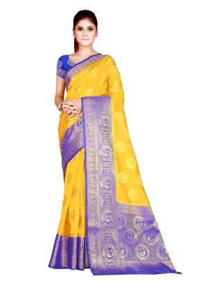 Yellow Festival Silk Traditional Designer Saree
