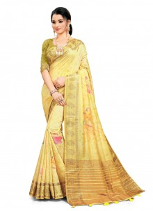 Yellow Festival South Cotton Printed Saree