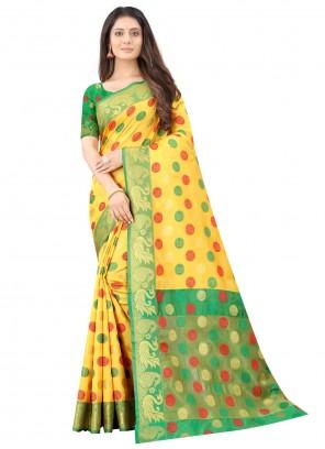 Yellow Weaving Zari Work Silk Traditional Saree