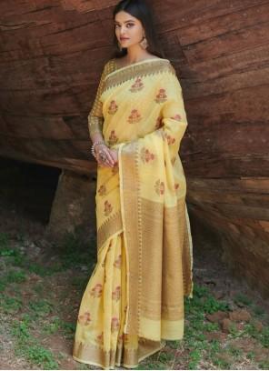 Yellow Linen Festival Trendy Saree