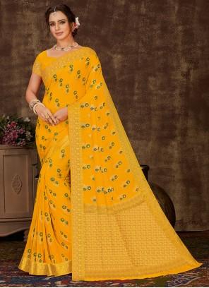 Yellow Festival Viscose Designer Saree