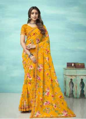 Yellow Floral Print Faux Georgette Casual Saree