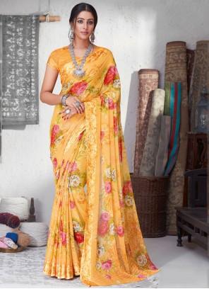 Yellow Floral Print Casual Saree