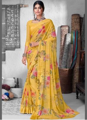 Yellow Floral Print Faux Chiffon Contemporary Saree