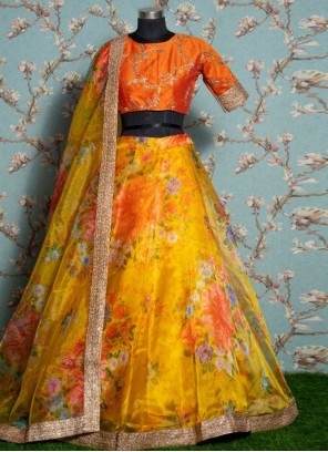Yellow Floral Print Cotton Trendy Lehenga Choli