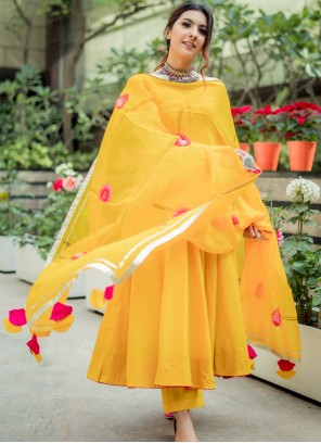 Yellow Floral Print Party Trendy Salwar Suit