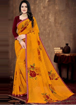 Yellow Floral Print Faux Georgette Saree