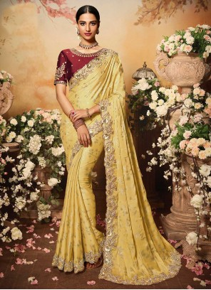 Yellow Foil Print Designer Traditional Saree