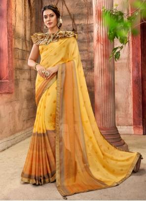 Yellow Foil Print Faux Chiffon Saree