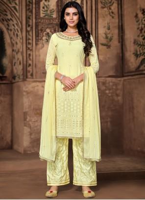 Yellow Georgette Designer Palazzo Salwar Kameez